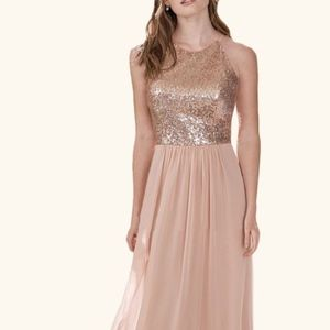 Rose Gold Sequin Chiffon Gown size 16